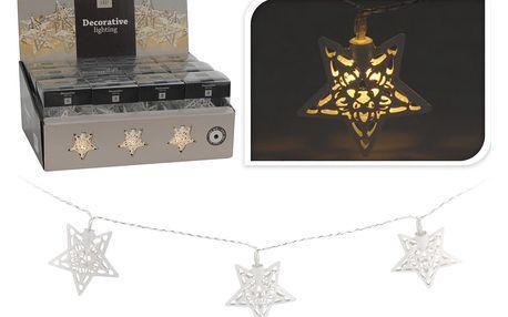 Světelný LED řetěz hvězdy, kov, bílá, 30 cm