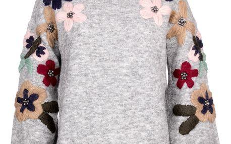 JOYx Dámský svetr s vyšívanými květy mohérová příže