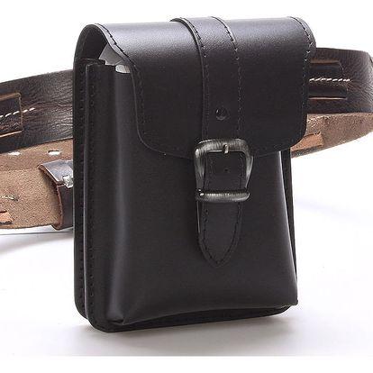 Pánská černá kožená kapsa na opasek - Greisi Gerr černá