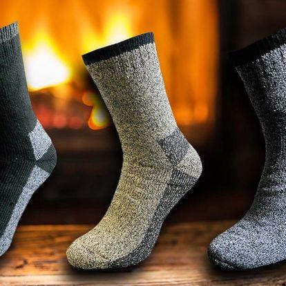 3 páry pánských vlněných termo ponožek