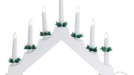 Dřevěný dekorační svícen Winter, bílá