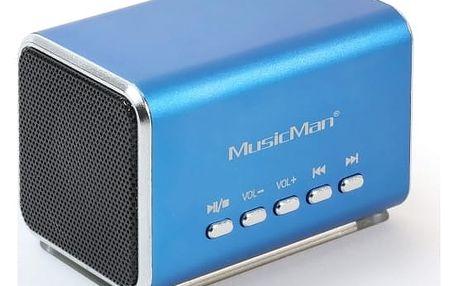 Přenosný reproduktor Technaxx Přenosný stereo reproduktor MIDI MusicMan, baterie 600 mAh, FM-Radio, modrý 3557