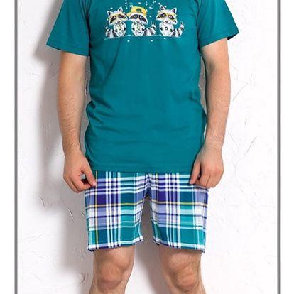 Pánské pyžamo šortky Mývalové smaragdová S