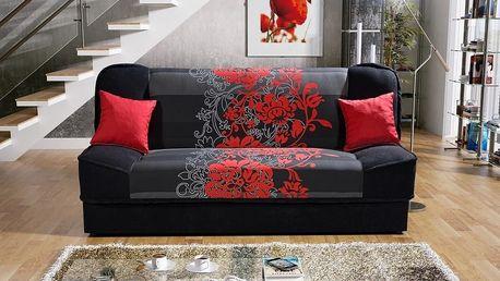 Pohovka Jas, černá červený květ