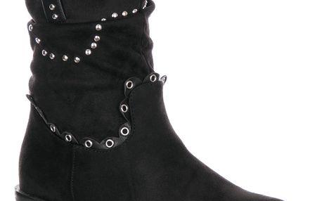 Fashion world Dámské kotníkové kozačky s kovovými cvoky