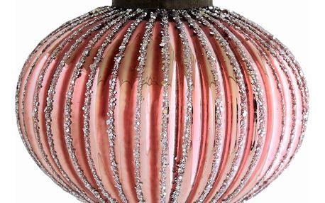GREEN GATE Vánoční baňka Onion Glass, růžová barva, sklo
