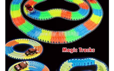 Svítící autodráha s autíčkem Magic Tracks 80 dílků