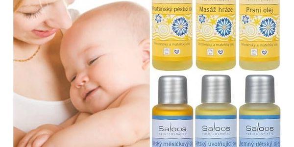 Pěsticí mateřské a dětské oleje Saloos 50ml - SLEVA - blížící se datum spotřeby