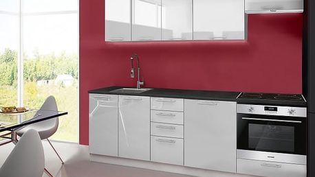 Emilia - Kuchyňský blok A, 240 cm (bílá, PD černá)