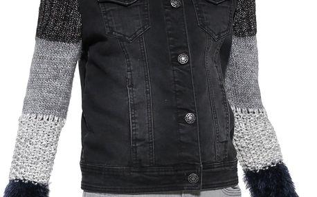 Desigual černá džínová bunda Exotic Black