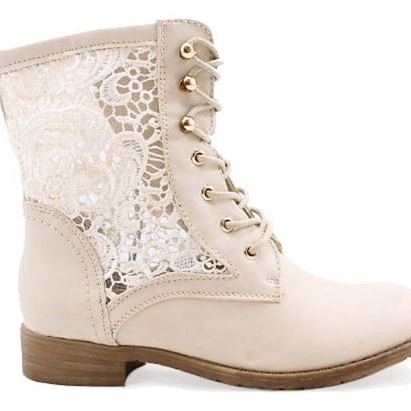 Béžové kotníkové boty 67522BE 38