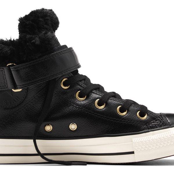 Kožené boty Converse černé dámské Brea s kožíškem