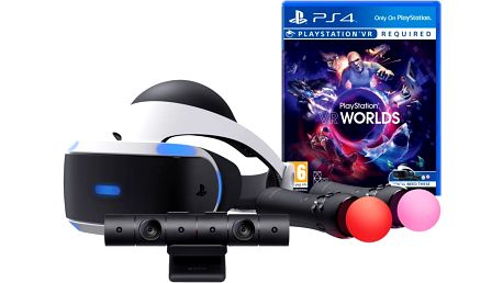PlayStation VR + Kamera v2 + 2x PS Move + VR Worlds - PS719880561 + Hra Gran Turismo Sport v ceně 1700 Kč