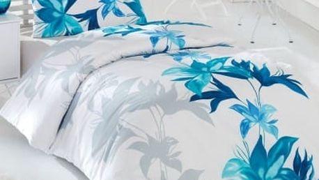 Night in Colors Francouzské bavlněné povlečení TUVAL - modrá 200X220, 70x90