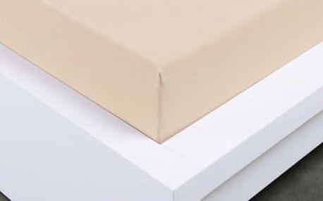 XPOSE ® Bambusové jersey prostěradlo dvoulůžko - bílá káva 180x200