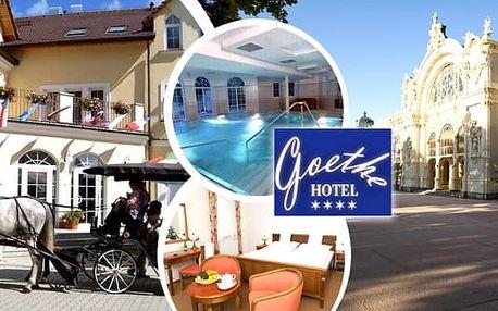 Mariánské Lázně - pobyt pro 1 nebo 2 osoby na 3, 4 nebo 5 dní v luxusním 4* Hotelu Goethe Spa & wellness s polopenzí a wellness procedurami.Aroma masáž, suchá uhličitá koupel, neomezený vstup do bazénu a další ... Relaxujte ve světoznámém lázeňském městě