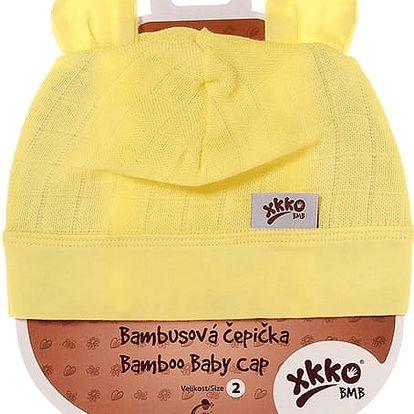 KIKKO Bambusová dětská čepička Colours, vel. 2 - lemon