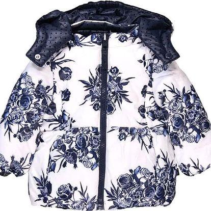 BOBOLI Zimní bunda dívčí oboustranná kytky, vel. 92 - modrá, holka