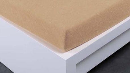 XPOSE ® Froté prostěradlo Exclusive dvoulůžko - béžová 200x220 cm