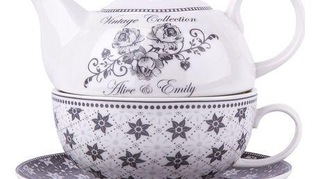 Konvička se šálkem Emily, porcelán, šedo-bílá