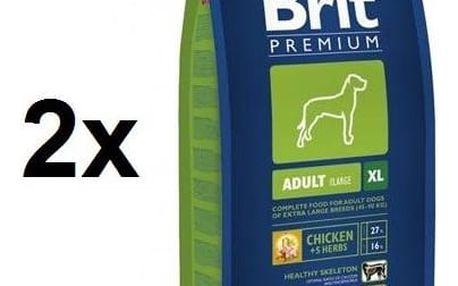 Granule Brit Premium Dog Adult XL 2 x (15 kg + 3 kg ZDARMA) + Doprava zdarma