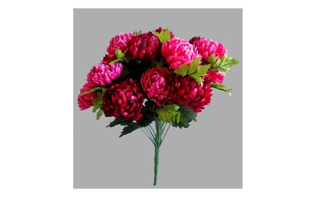 Umělá kytice Chryzantéma, vínová