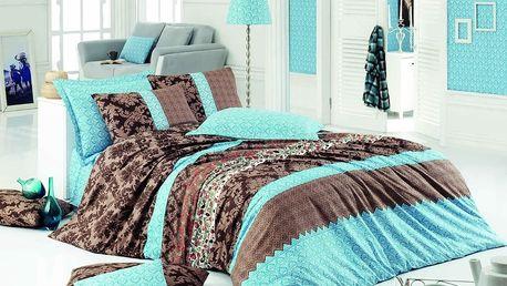Homeville Povlečení 100% bavlna Helen hnědo/tyrkysová se dvěma povlaky na polštář
