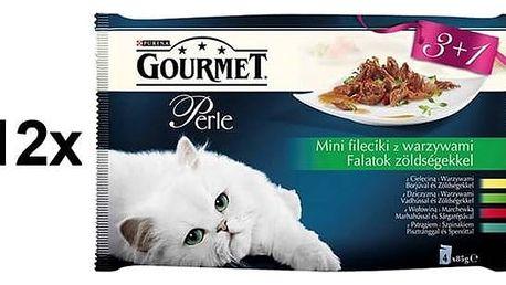 Kapsička Gourmet Perle mini filetky ve šťávě se zeleninou Multipack 12 x (3+1 zdarma 85g)