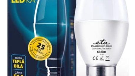 Žárovka LED ETA EKO LEDka svíčka, 7W, E14, teplá bílá (C37-PR-638-16A) bílá