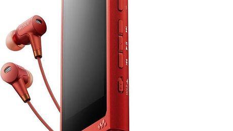 Sony NW-A35, 16GB + sluchátka, červená - NWA35HNR.CEW