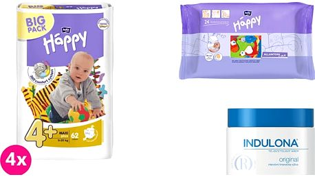 4x BELLA HAPPY Maxi Plus 4+ pleny (9-20 kg) 62 ks + Indulona Tělový krém 250 ml + Happy Wipes 24 ks