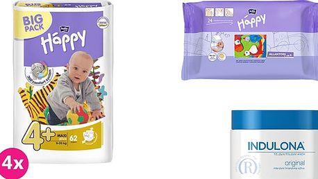 4x BELLA HAPPY Maxi Plus 4+ pleny (9-20 kg) 62 ks + Indulona Tělový krém 250 ml + Happy Wipes 24 ks