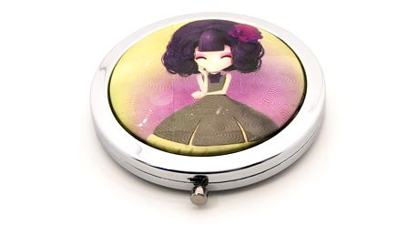 Kapesní kosmetické zrcátko Dolls fialové - žluté