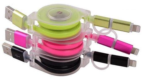 Samonavíjecí USB kabel s micro USB 2v1