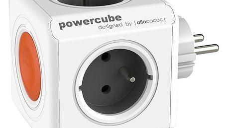 PowerCube multifunkční zásuvkový systém, 4x zásuvka, šedá/oranžová
