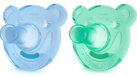 AVENT Šidítko Soothie (3m+) silikon 2 ks – kluk, modrý+zelený
