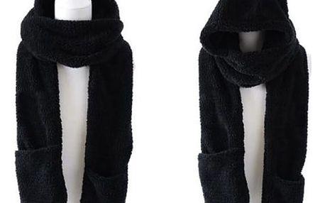 Kapuca, šála, rukavice 3v1. Na výběr různé barvy. Velmi slušivá a nápaditá.