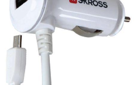 Skross USB nabíjecí autoadaptér, integrovaný kabel micro USB + 1x 2100mA - DC18