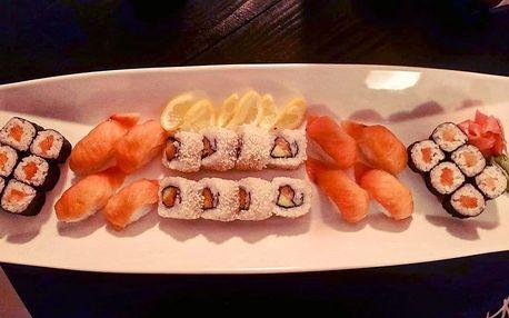 Sushi - 28 až 30 kusů různých druhů na Žižkově