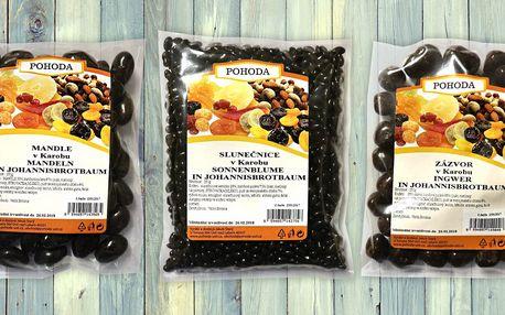 Ovoce a ořechy obalené ve sladkém karobu