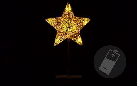Vánoční dekorace - svítící hvězda na stojánku - 40 cm, 10 LED diod