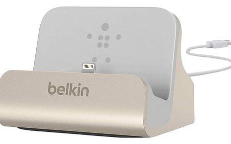 Belkin Mixit nabíjecí a sychronizační dok pro iPhone 5/SE, vč. light. konektoru, zlatá - F8J045btGLD