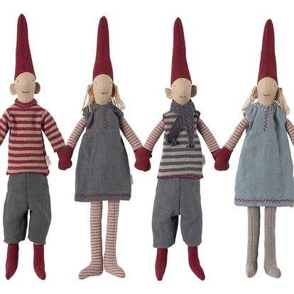 Maileg Skřítek Pixy čtyři varianty - mini Typ D (světlé šaty), červená barva, béžová barva, šedá barva, textil