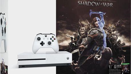 XBOX ONE S, 1TB, bílá + Middle-Earth: Shadow of War - 234-00189 + Druhý ovladač Xbox, bílý v ceně 1400 kč