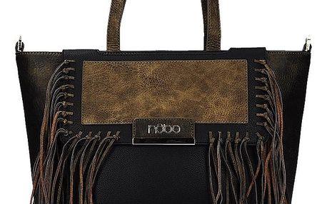 Krásná černá kabelka s dekorativními třásněmi univerzální