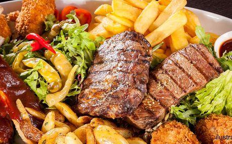 Mix 3 druhů masa, hranolků a oblohy z grilu