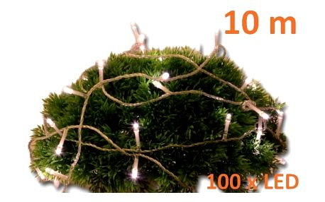 Řetěz 10 m - 100 LED - teplá bílá - spínač - 18000112