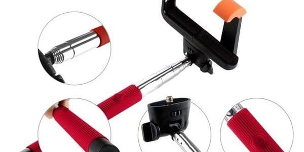 GoGEN 2 Selfie tyč teleskopická, bluetooth, červená - GOGBTSELFIE2R