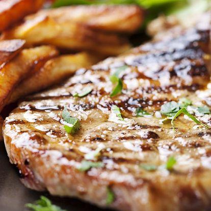 Flambované steaky z krkovičky nebo kuřecího pro dva