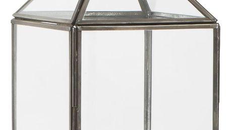 IB LAURSEN Skleněná lucerna Norr, šedá barva, černá barva, čirá barva, sklo, kov